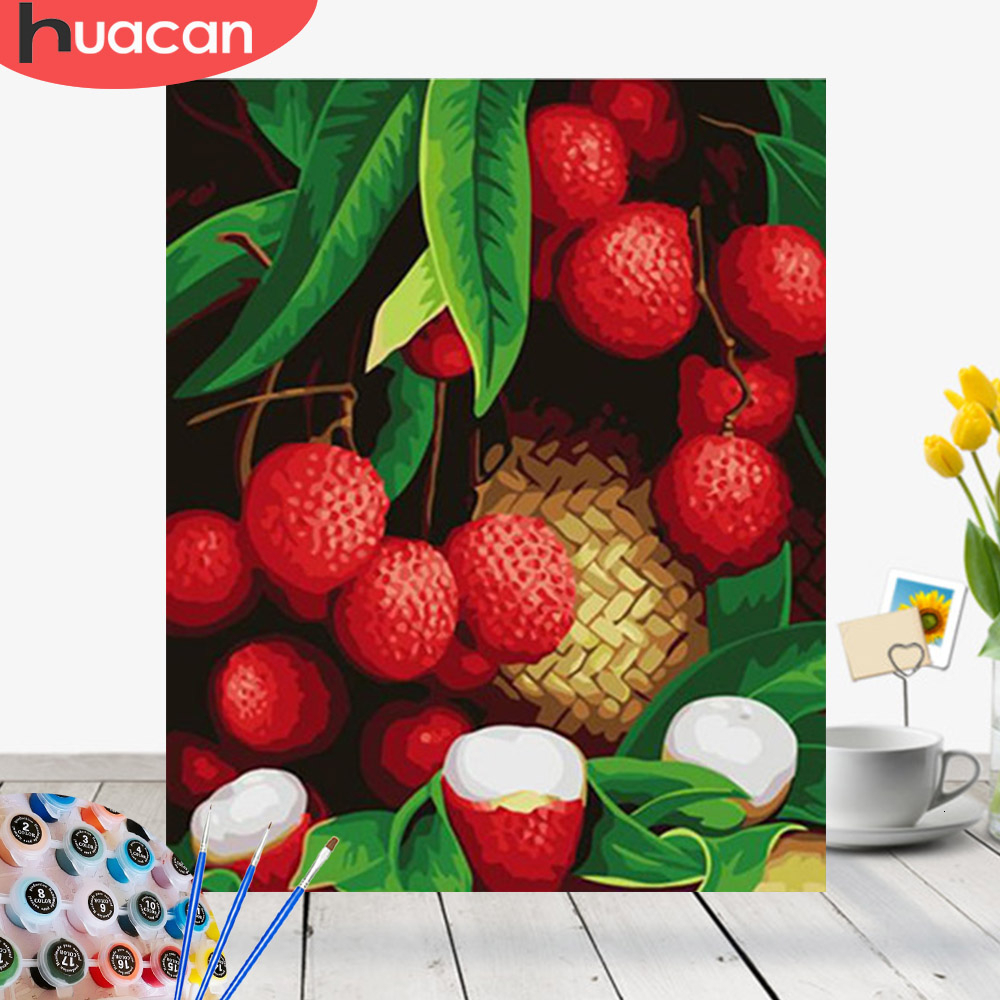 HUACAN Oil Painting By Number Fruit HandPainted Kits Drawing Canvas DIY Pictures Home Decoration Art Gift