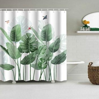 цена на Green Tropical Plants Shower Curtain Bathroom Waterproof Polyester Shower Curtain Leaves Printing Curtains for bathroom shower