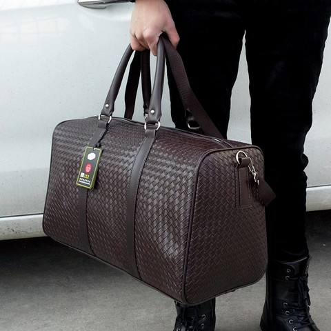 Travel Bag Large Capacity Men Hand Luggage Travel Duffle Bags Leather Handbag Multifunction Shoulder Bag Bolsos Weeke SA-8 Lahore