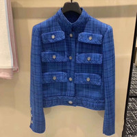 2020 Spring Fashion women's brand new high quality pockets tweed jackets coat B589
