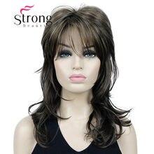Strongbeauty brown destacada longa ondulado macio em camadas shag peruca sintética para mulher