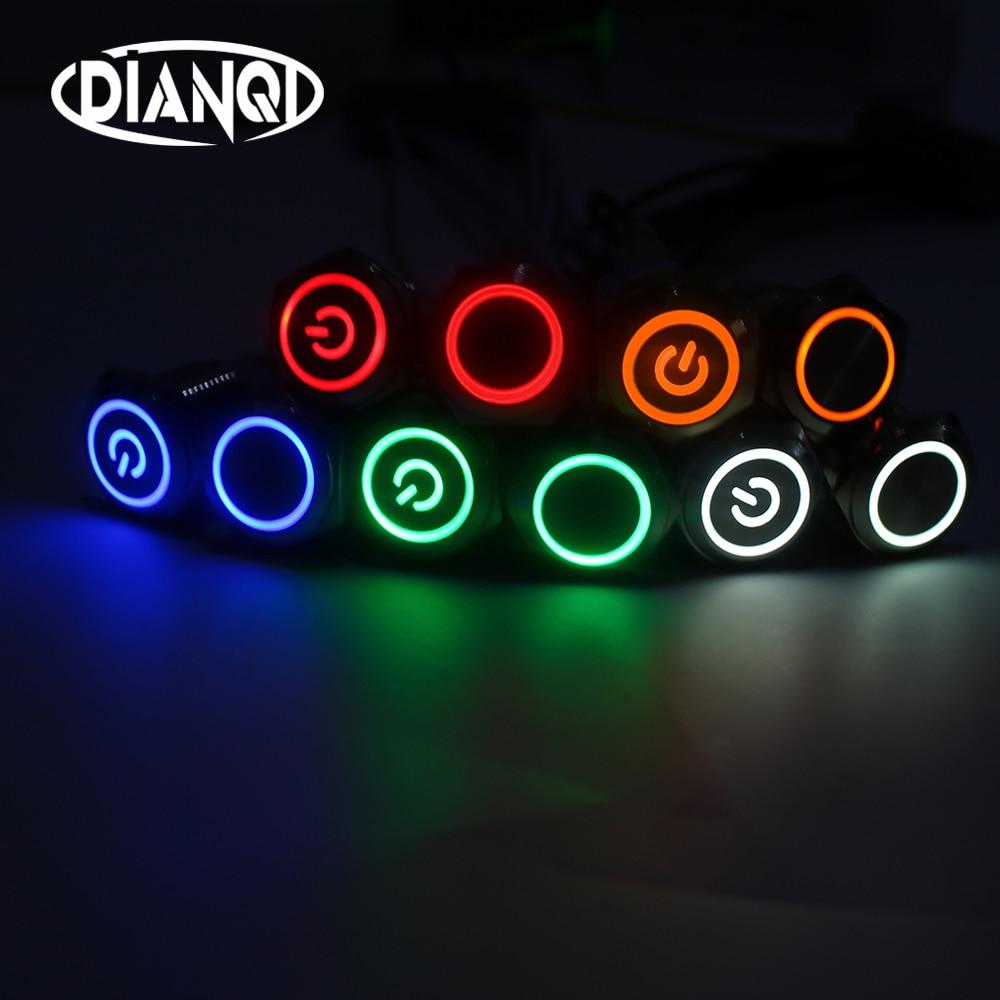 Bouton Poussoir En Métal De 16mm, Bouton D'alimentation, étanche, Bouton Circulaire, Lumière LED à Verrouillage Automatique, 1NO1NC, 6 V, 12V