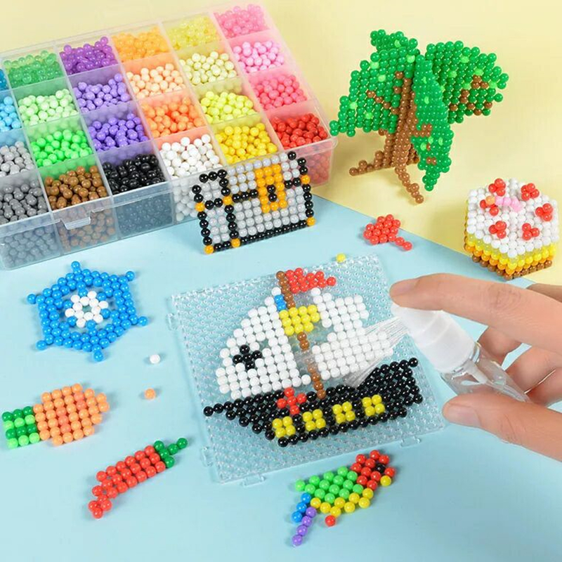 11000PcsSet 4.5mm DIY Water Spray Magic Beads Kit Animal Molds Hand Making 3D Beads Puzzle Educational Beads Children Toys