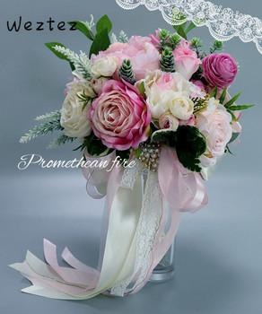 Bukiety ślubne dla nowożeńców sztuczne perły kwiaty ślubne kryształowe bukiety ślubne bukiet De Mariage Rose PH38 tanie i dobre opinie NYLON 35cm 28cm 0 35kg Bukiet ślubny bridal bouquet wedding bouquet