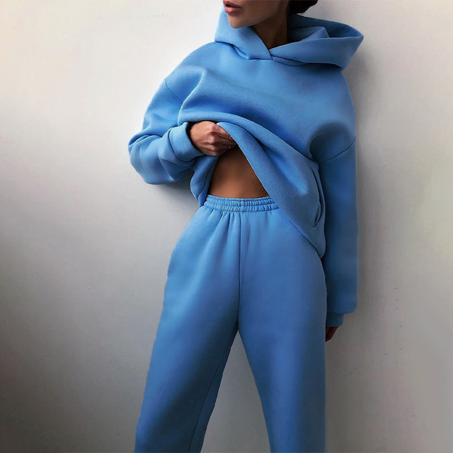 Women Elegant Solid Sets For Women Warm Hoodie Sweatshirts And Long Pant Fashion Two Piece Sets Ladies Lace Up Sweatshirt Suits 2