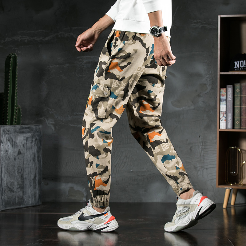 Casual Pants Men Spring 2020 Korean Version Fashionable Men's Pants Loose Sports Personality Handsome New style Printed Trousers