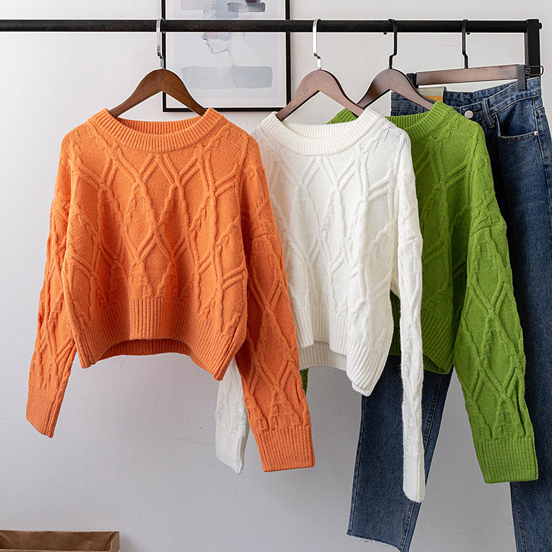 Goede Autumn Winter Retro Casual Rhombus Pullover Sweater Women Loose YU-92