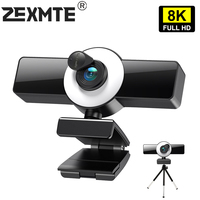 Webcam 4K 8K Web Kamera Mit Mikrofon LED Füllen Licht Mini Cam Für Konferenz Streaming Video Youtube Live laptop PC