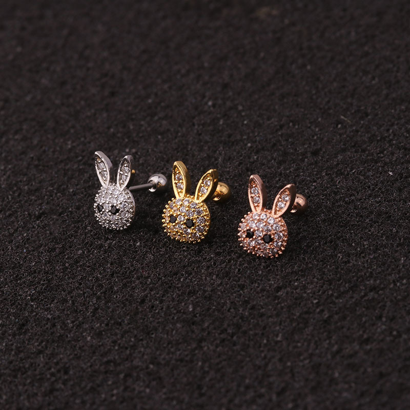 1pc Rose Gold Color Rabbit Curved Cz Cartilage Stud Helix Rook Conch Screw Back Earring Stainless Steel Ear Piercing Jewelry