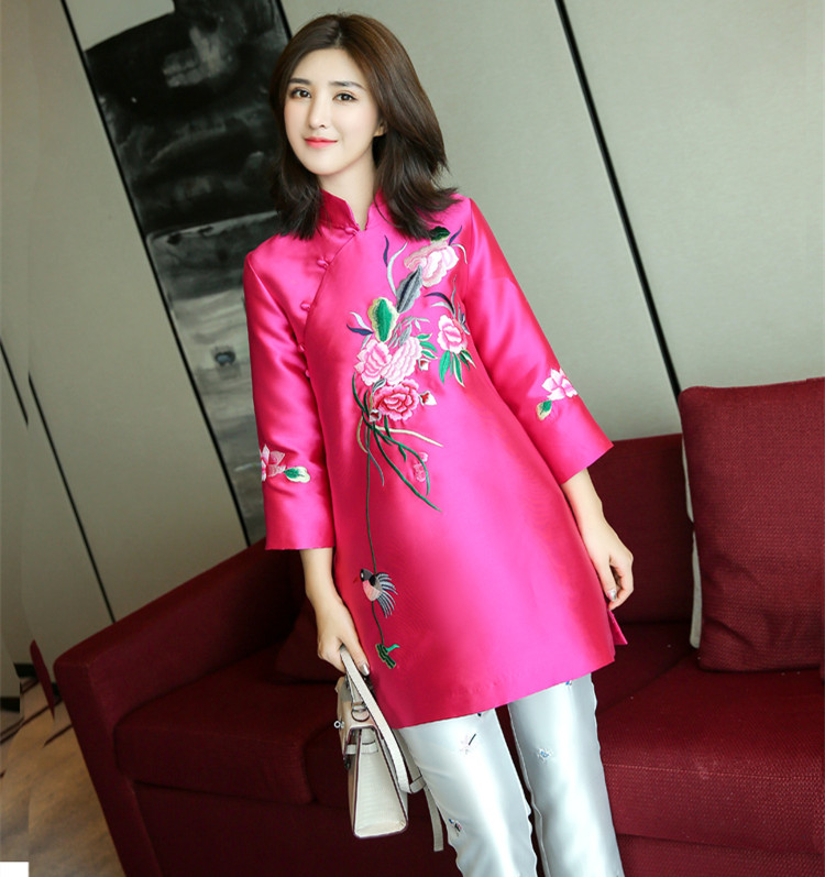 New Arrival 2020 Embroidery Peach Top Jacket Outfit Party Chinese Tradition