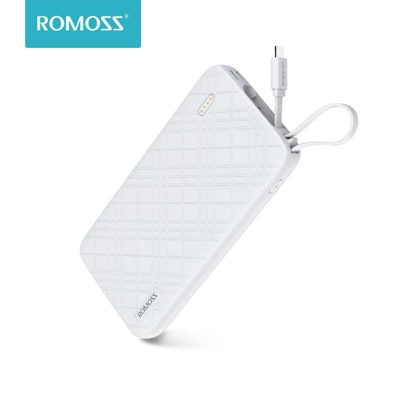 Batería Externa ROMOSS QS10 de 10000mAh con Cable Micro USB integrado, cargador portátil de viaje para iPhone