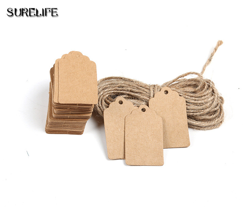 2000Pcs Tag Store Kraft Paper Blank DIY Wedding Gift Hemp Rope Price Label Hang 2*4cm/3*5cm - 3