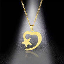 Heart-shaped Necklace Necklace Female Stainless Steel Mini Simple Love Star Pendant Clavicle Chain flash shaped pendant chain necklace