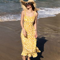 100% Silk Yellow Daisies Print Slip Dress Women Holiday Beach Slim Fresh Ruffles Midi Dress