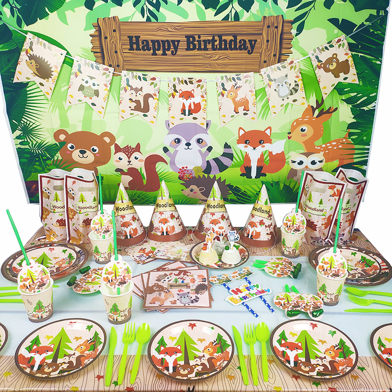 Woodland Animals Party Jungle Safari Birthday Party Decor Woodland Creatures Jungle Animal Forest Party Supplies Forest Party