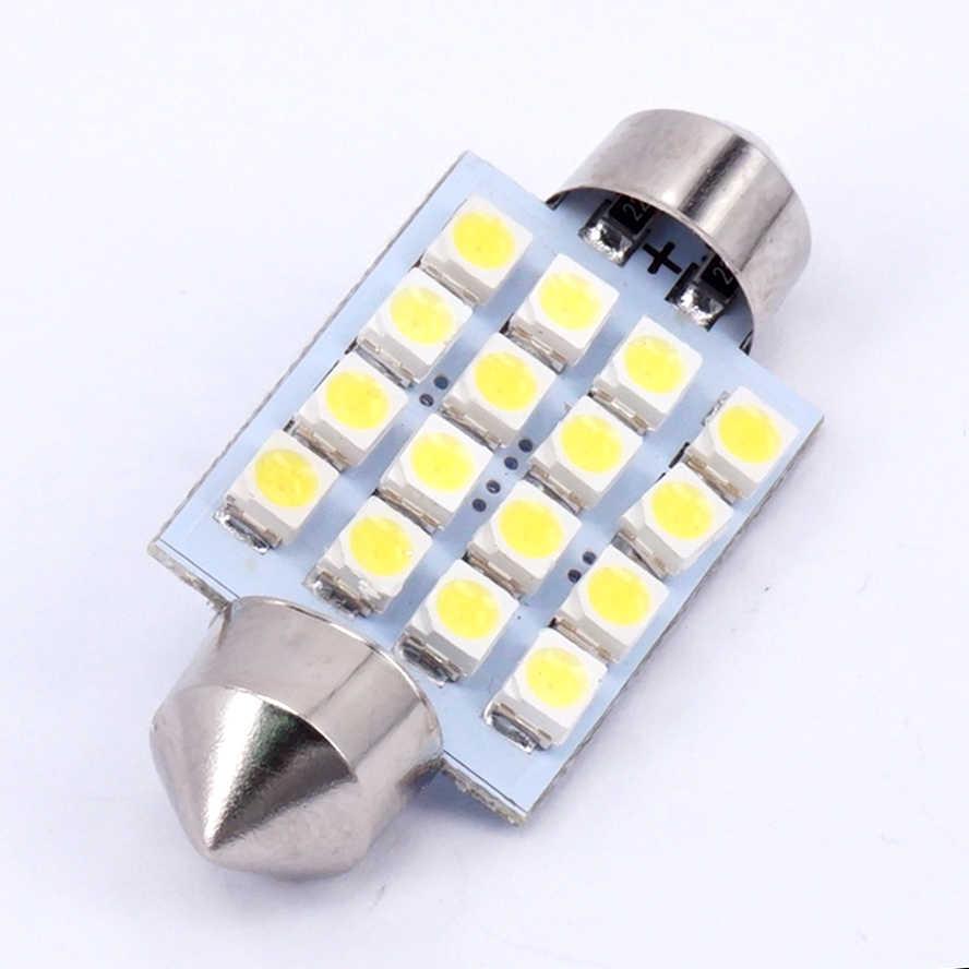 1 قطعة 3528 1210 الأبيض 16 SMD LED سيارة قبة اكليل مصابيح داخلية لمبات 39 مللي متر سقف للسيارة سيارة مصباح إضاءة صندوق الأمتعة بالسيارة DC 12V اديبايور