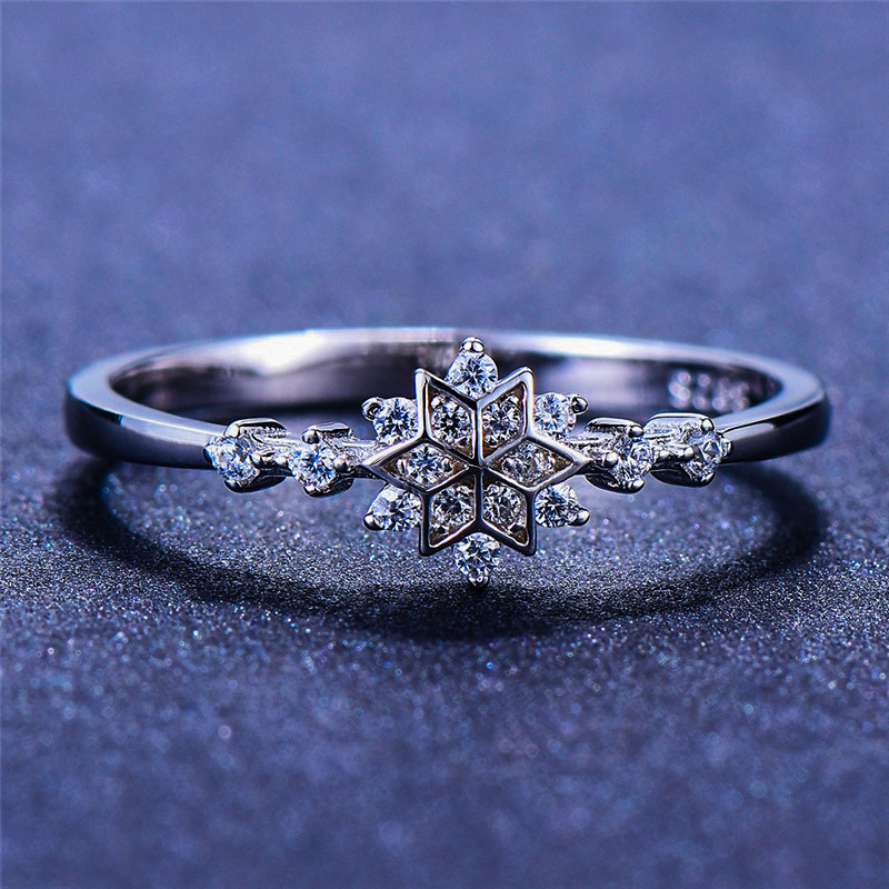 Luxury Female Flower Snowflake Ring 100% Real 925 Sterling Silver Zircon Stone Ring Boho Promise Love Engagement Rings For Women
