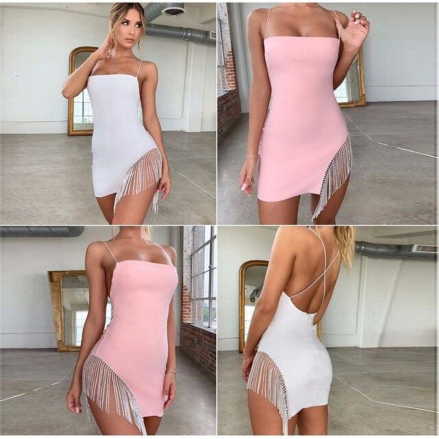 NewAsia 2 Layers Diamond Party Dress Women 2020 Summer Backless Tassel Hem Valentine Sexy Club Dress Elegant White Dress Mini 2