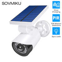 Fake Dummy Camera Bullet Waterproof Outdoor Solar Charge CCTV Surveillance Camera Light Leds Body Detection