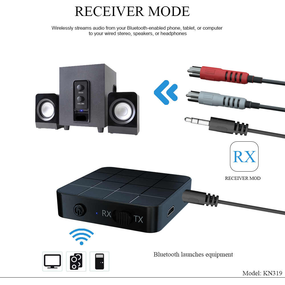 Bluetooth 5.0 4.2 オーディオレシーバートランスミッター 2 1 で 3.5 ミリメートル 3.5 auxジャックrcaステレオ音楽ワイヤレスアダプタテレビpc車のスピーカー