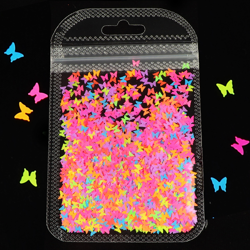 Fluorescence Butterfly Shape Heart Shape Nail Art Glitter Flakes 3D Neon Sequins Polish Manicure Nail Decoration