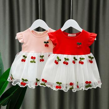 Dziewczynek sukienka 2021 nowe letnie bawełniane wiśniowe sukienki hafciarskie noworodka Mesh Tutu sukienki niemowlę księżniczka ubrania imprezowe 0-2Y tanie i dobre opinie Cindy YoYo W wieku 0-6m 7-12m 13-24m Patchwork CN (pochodzenie) Kobiet krótkie REGULAR Na co dzień haft Dobrze pasuje do rozmiaru wybierz swój normalny rozmiar