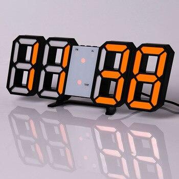 Led Digital Wall Clock Modern Design Watch Clocks 3D Living Room Decor Table  Alarm Nightlight Luminous Desktop 12