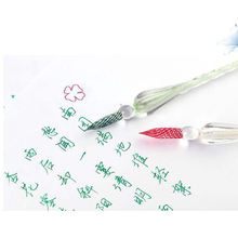 7 Pieces/set Crystal Glass Dip Pen Water Fountain Pen Set Elegant Writing Decoration Gift SP99 dip 7