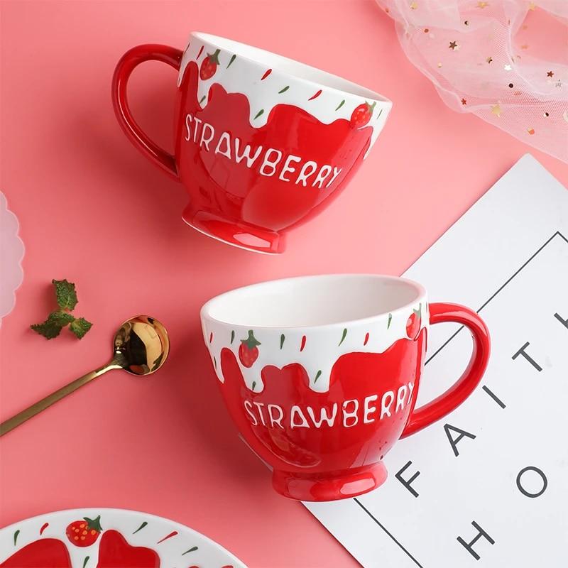 400ml Embossed Porcelain Cute Cup Strawberry Design Ceramic Red Mugs Coffee Cups Noel Halloween Mug Vaso Cafe Cup Reusable Mugs Aliexpress