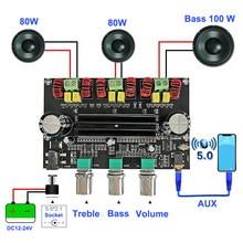 Placa amplificadora de áudio 2*80w + 100w, equalizador estéreo e bluetooth 5.0 ''com subwoofer de 2.1 canais tpa3116 classe aux d amp