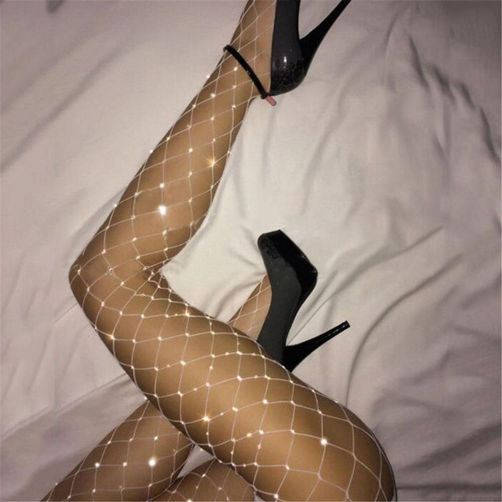 Fishnet Large Mesh Net Stockings Shiny Diamond Sexy Hot Rhinestone Eggings Stockings Pantyhose Women Thigh Club Party