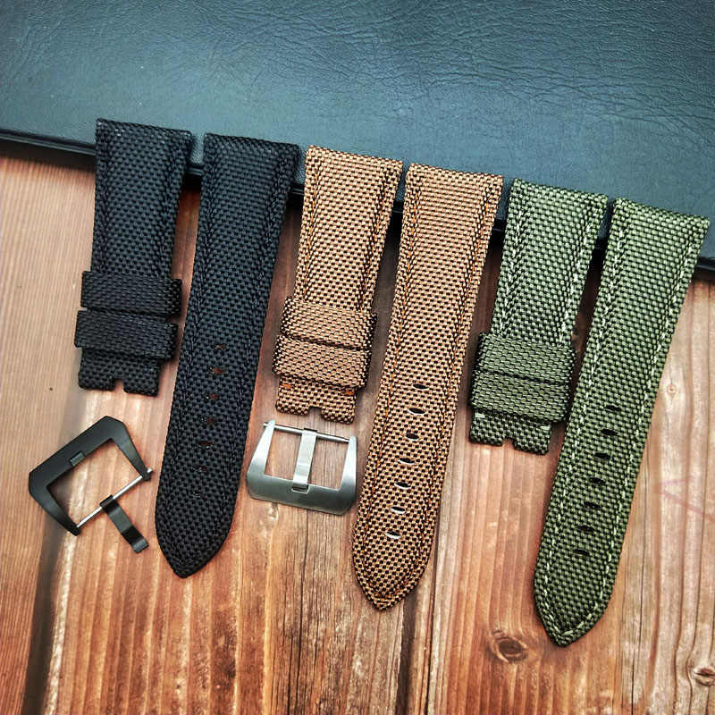 22 24 26mm Fabric Nylon Leather Green Brown Black Watchbands for Panerai616 strap PAM441/111/1312/0359 Pin Buckle Watch Bracelet