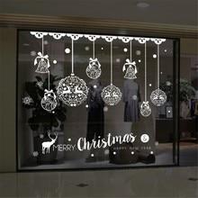 цена на Christmas Wall Sticker Home Decor Store Window Decoration Hanging Jingle Bell Snowflake Reindeer papel de parede