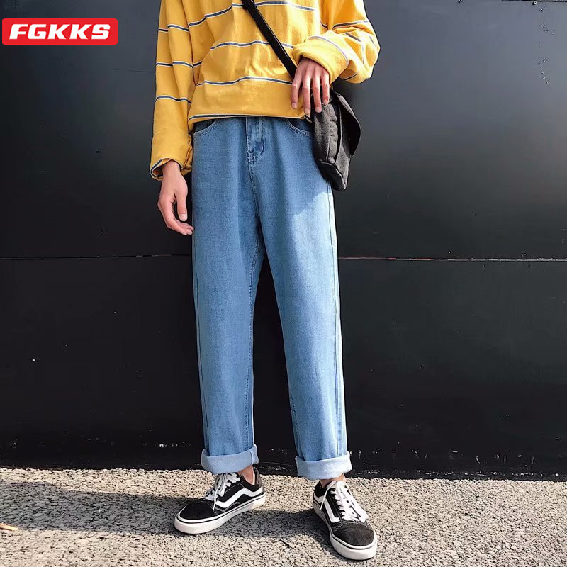 FGKKS Fashion Brand Men Trend Jeans Spring Summer New Men's High Street Wild Ankle-Length Pants Solid Color Straight Jeans Male