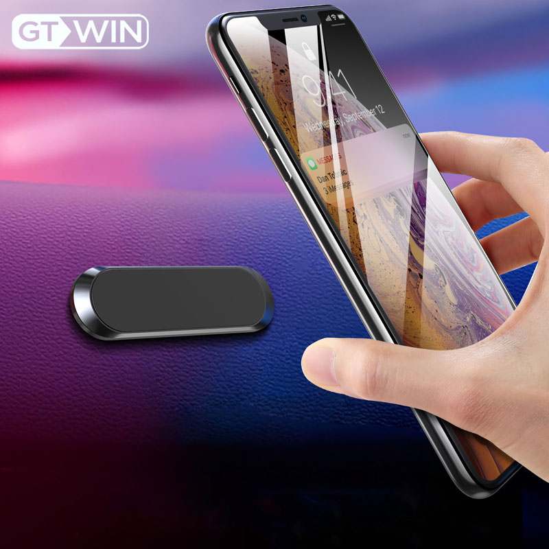 GTWIN Magnetic Car Phone Holder Dashboard Mini Strip Shape Stand For IPhone Samsung Xiaomi Metal Magnet GPS Car Mount For Wall