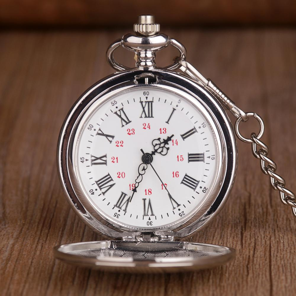 New Classic Pocket Watches Polish Smooth Quartz Pocket Watches Jewelry Alloy Chain Pendant with Necklace Chain Man Women's Gift