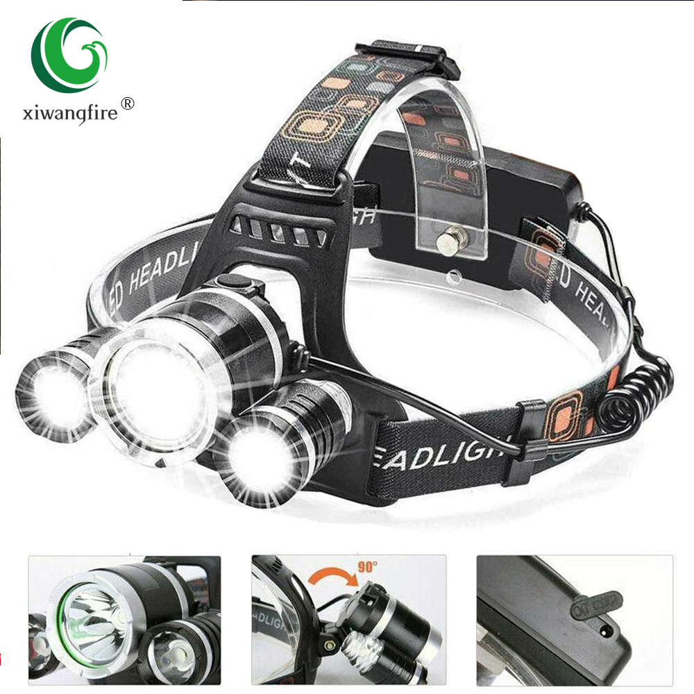Permalink to 3 Led Rechargeable Led Headlamp 5000LM Head Lamp Torch Headlights Lantern Waterproof Bulbs Xml T6 Lithium Ion Use 18650 Battery
