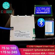 BMS 7S à 16S 17S à 24S Ant, panneau de Protection de batterie au Lithium 72V Li-ion 60V Lifepo4 50a 100a 8S 13S 14S 20S LCD intelligent Bluetooth