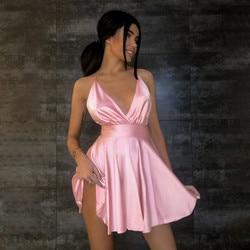 ThornTreeWomen Summer Sexy V-neck Dress Women Spaghetti Straps Backless Bodycon Slim Stretch Multi Wear Club Party Satin Dress