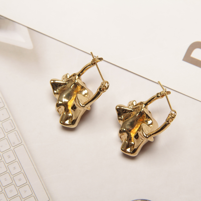 HUANZHI Irregular Advanced Sense For Women Gold Color Stainless Steel Charm Fashion Femme Frosted Earring Gift