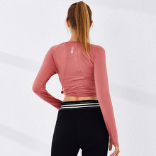 Naadloze Gym Crop Top Workout Training Top Vrouwen Lange Mouwen Naadloze Shirt Stretchy Atletische Sportkleding Winter Kleding(China)