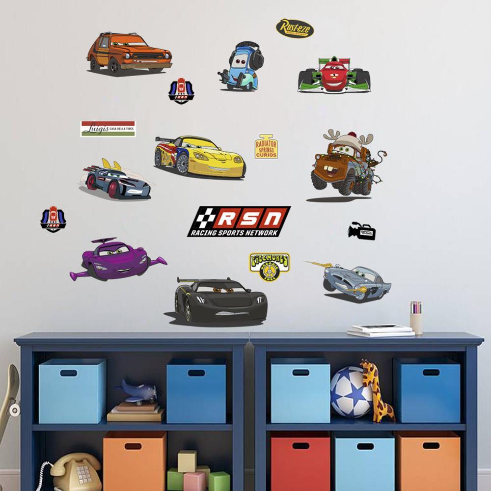 Cartoon Mcqueen Cars 3D Wall Stickers for Kids Room Boys Fake Window PVC Wallpaper Murals Sticker Decals Room Decoration Nursery 14