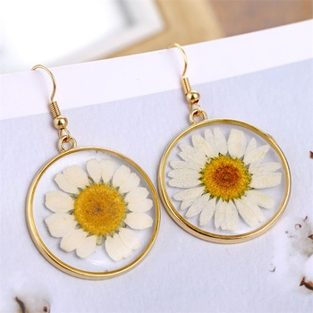 FNIO Fashion Resin Daisy Drop Earring For Women Transparent Dried Flower Elegant Earrings Bohemian Geometric Gold Jewelry 2019 image