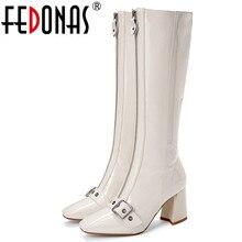 FEDONAS  Zipper Knee High  Boots