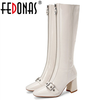 FEDONAS 2020 Autumn Winter Warm Long Boots Punk Zipper Women Knee High Boots Cow Patent Leather Female Boots Party Shoes Woman