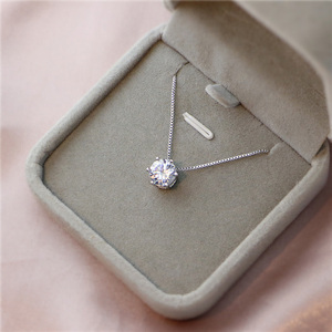 Cute 925 Sterling Silver Geometric Simple Round Choker AAA Zircon Pendant Necklace For Women Engagement Fine Jewelry NK005
