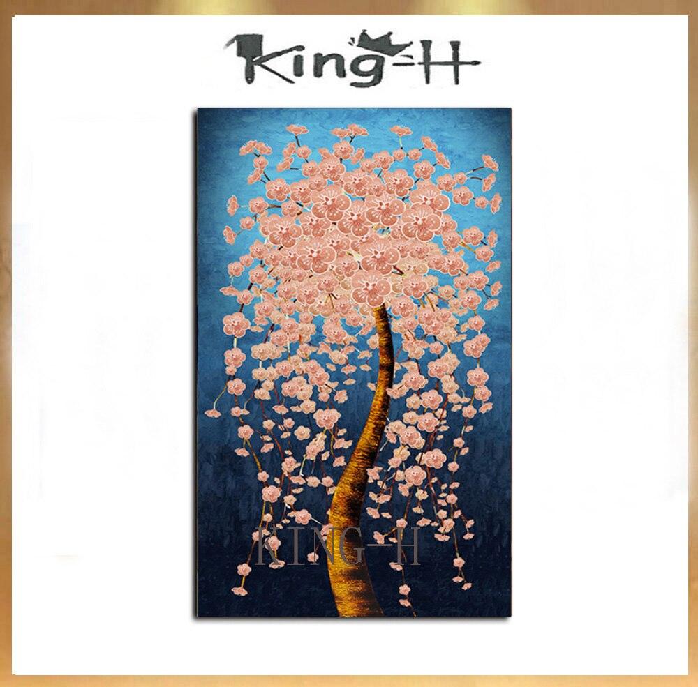 Excellent artiste pur peint à la main Palette couteau épais peinture à l'huile fleur image peint à la main doré riche arbre peinture à l'huile