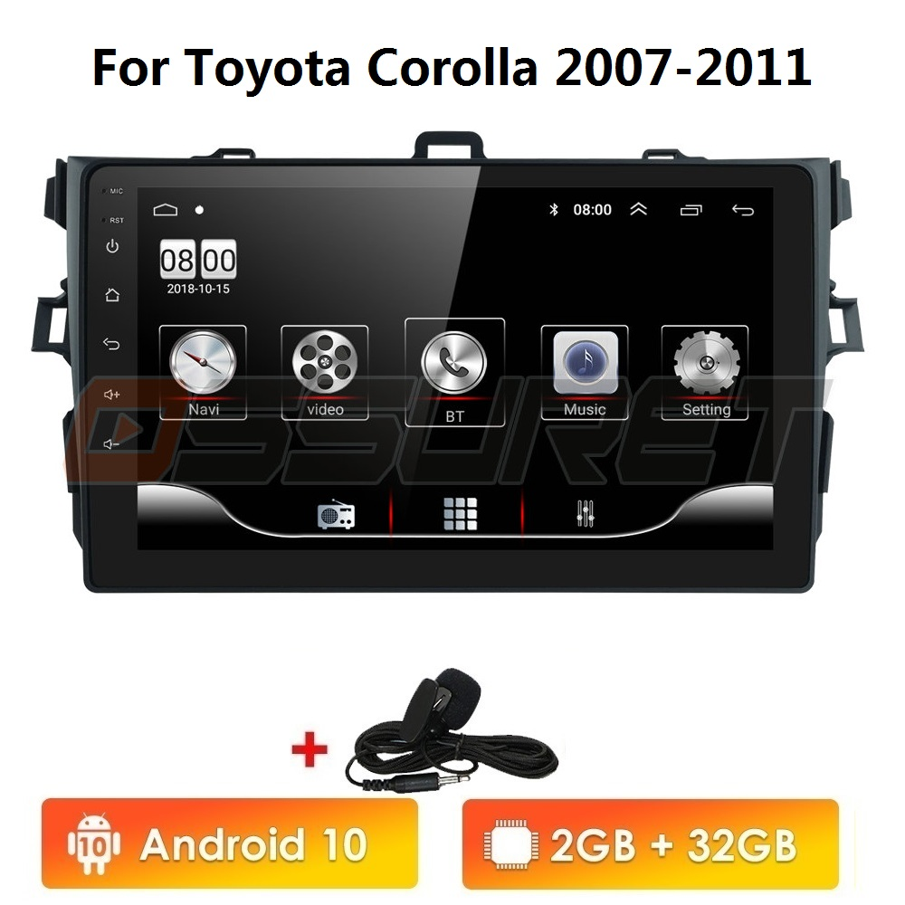 2 Din Android 10 2GB RAM 32GB ROM Car Radio Multimedia Player For Toyota Corolla 2007 2008 2009 2010 2011 Support BT WIFI&4G SWC