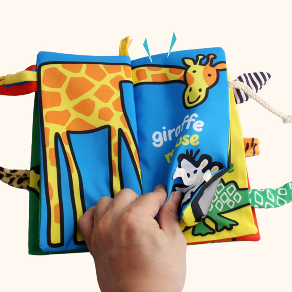Baby Animal Tails Cloth Books Soft Toys Ring Paper Fabric Book Hanging Crib Educational Cartoon Infant Newborns Cloth Book Toys