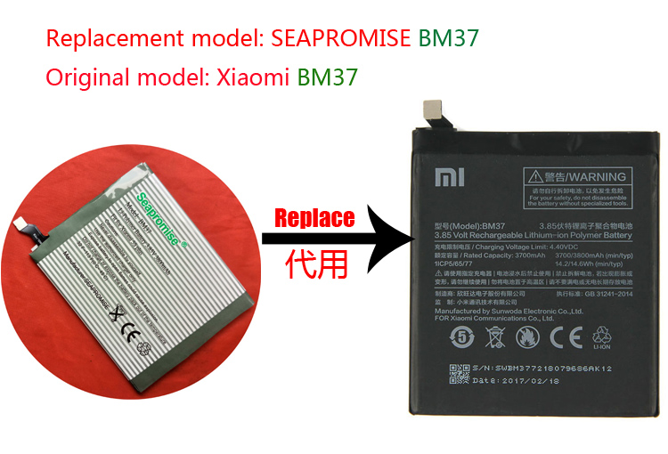 retail mobile phone <font><b>battery</b></font> BM37 for Xiaomi <font><b>Mi</b></font> <font><b>5s</b></font> Plus International Version image